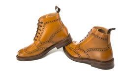 Concetti delle scarpe Accento abbronzato premio Derby Boots del vitello Leathe immagini stock libere da diritti