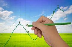 Grafico finanziario di disegno ed uomo d'affari d'aiuto Fotografia Stock Libera da Diritti