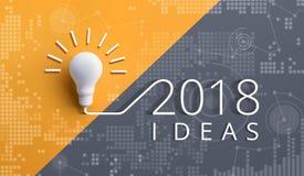 concetti 2018 di ispirazione di creatività con la lampadina Fotografie Stock Libere da Diritti