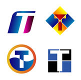 Concetti di progetto alfabetici di marchio Lettera T Fotografie Stock Libere da Diritti