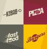 Concetti di progetto di logo degli alimenti a rapida preparazione Immagine Stock