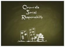 Concetti di responsabilità sociale dell'impresa sulla lavagna verde Immagini Stock Libere da Diritti