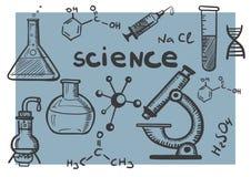Concetti di scienza e di chimica fissati Fotografie Stock Libere da Diritti
