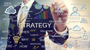 Concetti di strategia del disegno dell'uomo d'affari Fotografia Stock