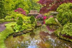Concetti di viaggio Paesaggio pittoresco stupefacente del giardino giapponese Immagini Stock Libere da Diritti