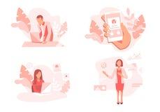 Concetti moderni dell'impiegato di concetto dell'illustrazione di vettore dell'insieme royalty illustrazione gratis