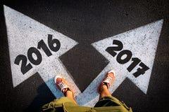 Concetti 2016 o 2017 di dilemma Fotografie Stock Libere da Diritti
