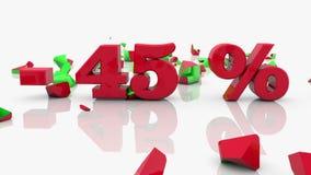 Concetti per cento dell'iscrizione di 45 e di vendita su un bianco archivi video
