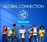 Concetto accessibile di tecnologia di Internet del collegamento globale fotografia stock
