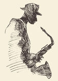 Concetto acustico di musica del sassofono del manifesto di jazz Fotografie Stock
