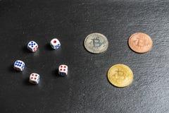 Concetto ad alto rischio di investimento di valuta cripto di Bitcoin fotografia stock