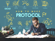 Concetto adeguato di sicurezza di protezione di dati della rete di protocollo Fotografia Stock