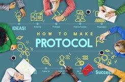 Concetto adeguato di sicurezza di protezione di dati della rete di protocollo Fotografie Stock Libere da Diritti