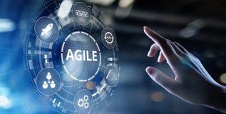 Concetto agile di metodologia di sviluppo sullo schermo virtuale Concetto di tecnologia immagine stock