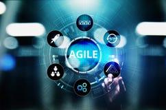 Concetto agile di metodologia di sviluppo sullo schermo virtuale Concetto di tecnologia immagini stock libere da diritti