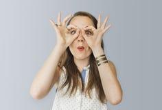 Concetto allegro impertinente divertente della giovane donna Fotografia Stock Libera da Diritti