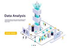Concetto a alta tecnologia isometrico, centro dati illustrazione vettoriale