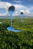 Concetto ambientale di verniciatura dei laghi blu Immagini Stock