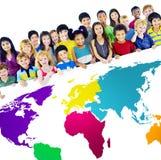 Concetto ambientale globale della mappa di mondo di globalizzazione Fotografie Stock Libere da Diritti