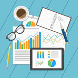 Concetto analitico di affari Pianificazione e contabilità, analisi, verifica finanziaria, analisi dei dati di seo, funzionamento, illustrazione di stock
