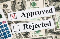 Concetto approvato o rifiutato finanziario Fotografie Stock Libere da Diritti
