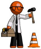 Concetto arancio del dottore Scientist Man Under Construction, traffico Fotografia Stock