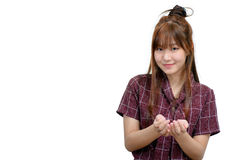 Concetto asiatico della pubblicità e della donna - con le mani vuote immagine stock