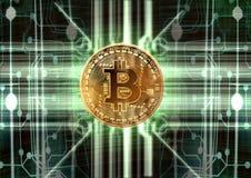 Concetto astratto cibernetico del bitcoin illustrazione di stock
