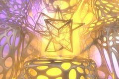 Concetto astratto della rappresentazione 3d di alta poli sfera atomica con la struttura mulecular cellulare di griglia caotica de illustrazione di stock