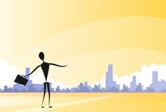 Concetto astratto di City View Panorama dell'uomo d'affari Fotografia Stock Libera da Diritti
