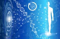 Concetto astratto di scienza e tecnologia del fondo in blu illustrazione di stock