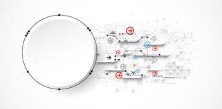 Concetto astratto di tecnologia del cerchio Circuito, alto computer Immagine Stock