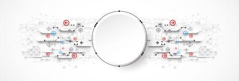 Concetto astratto di tecnologia del cerchio Circuito, alto computer Immagini Stock