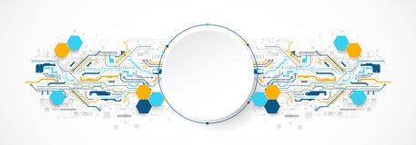 Concetto astratto di tecnologia del cerchio Circuito, alto fondo di colore del computer royalty illustrazione gratis