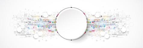 Concetto astratto di tecnologia del cerchio Circuito, alto fondo di colore del computer illustrazione di stock