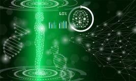Concetto astratto di tecnologia del fondo nella luce verde illustrazione di stock
