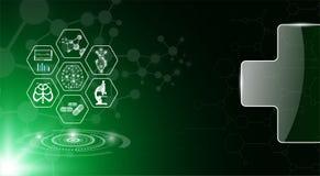 Concetto astratto di tecnologia del fondo nella luce verde royalty illustrazione gratis