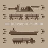 Concetto astratto di vettore del sistema di trasporto dell'olio minerale Fotografie Stock Libere da Diritti