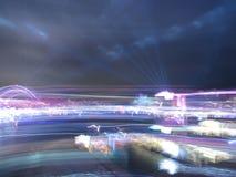 Concetto astratto e pazzo delle luci, vita di città immagine stock