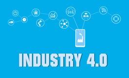 Concetto astuto della fabbrica Internet industriale delle cose Rete del sensore Vettore digitale moderno della fabbrica Immagine Stock Libera da Diritti