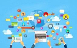 Concetto astuto di comunicazione della rete sociale del telefono cellulare della compressa moderna del computer portatile illustrazione vettoriale