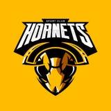 Concetto atletico di logo di vettore del club della testa furiosa del calabrone isolato su fondo arancio illustrazione di stock