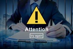 Concetto attento dell'icona del segnale di pericolo di attenzione Immagini Stock Libere da Diritti