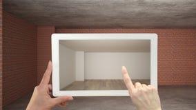 Concetto aumentato di realt? La compressa della tenuta della mano con l'applicazione dell'AR ha usato per simulare i prodotti di  illustrazione vettoriale