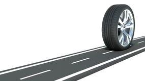Concetto automobilistico. Ruota sulla strada illustrazione vettoriale