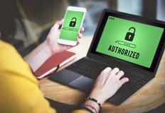 Concetto autorizzato di autorità del passaggio aperto Access immagini stock libere da diritti