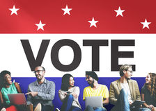 Concetto avveduto di voto di democrazia di decisione di elezione di voto Fotografia Stock