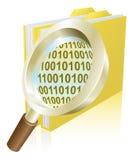 Concetto binario del dispositivo di piegatura dello schedario di dati della lente d'ingrandimento Fotografie Stock