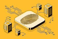 Concetto biometrico di vettore di tecnologia di sicurezza illustrazione vettoriale