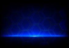 Concetto blu astratto di tecnologia, fondo astratto di esagono Immagini Stock Libere da Diritti